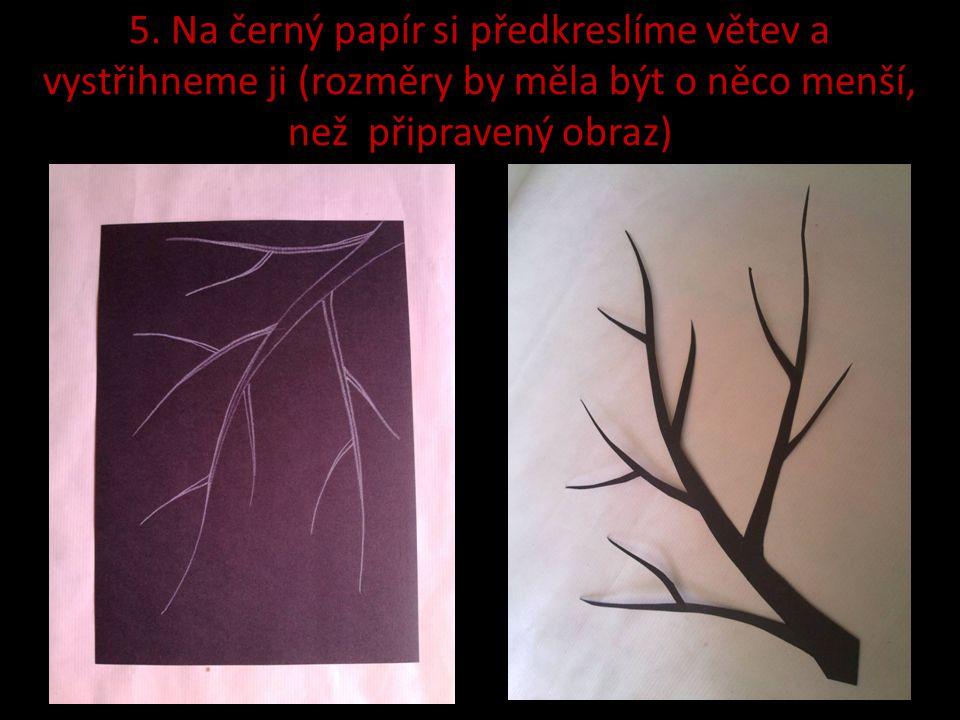 5. Na černý papír si předkreslíme větev a vystřihneme ji (rozměry by měla být o něco menší, než připravený obraz)
