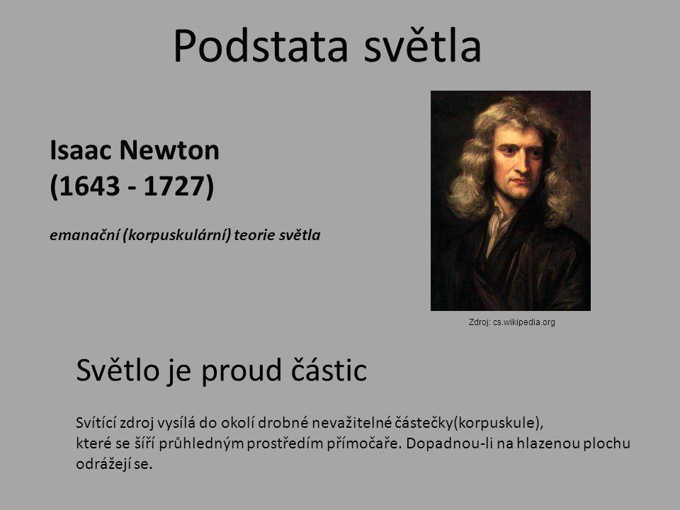 Podstata světla Isaac Newton (1643 - 1727) emanační (korpuskulární) teorie světla Svítící zdroj vysílá do okolí drobné nevažitelné částečky(korpuskule), které se šíří průhledným prostředím přímočaře.
