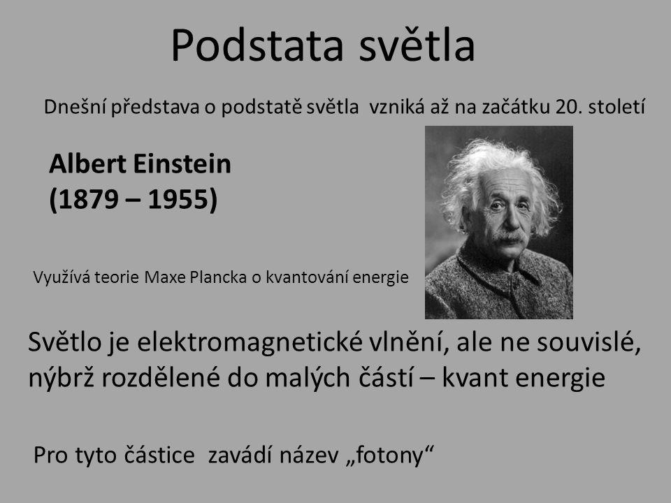 Podstata světla Albert Einstein (1879 – 1955) Dnešní představa o podstatě světla vzniká až na začátku 20.