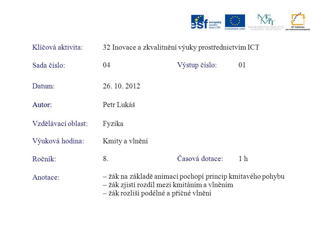 Klíčová aktivita:32 Inovace a zkvalitnění výuky prostřednictvím ICT Sada číslo: Výstup číslo:04 01 Autor:Petr Lukáš Vzdělávací oblast:Fyzika Výuková h