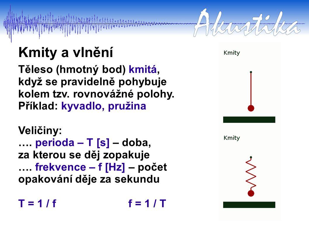 Kmity a vlnění Těleso (hmotný bod) kmitá, když se pravidelně pohybuje kolem tzv. rovnovážné polohy. Příklad: kyvadlo, pružina Veličiny: …. perioda – T