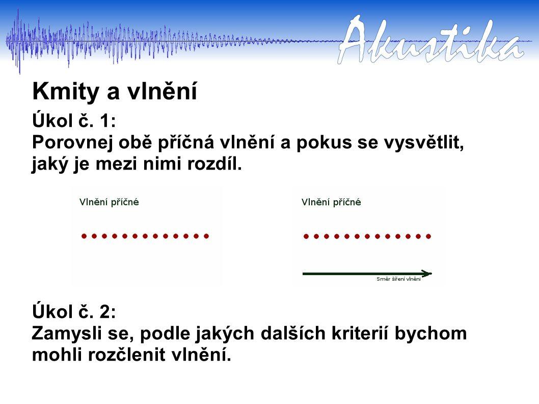 Kmity a vlnění Úkol č. 1: Porovnej obě příčná vlnění a pokus se vysvětlit, jaký je mezi nimi rozdíl. Úkol č. 2: Zamysli se, podle jakých dalších krite