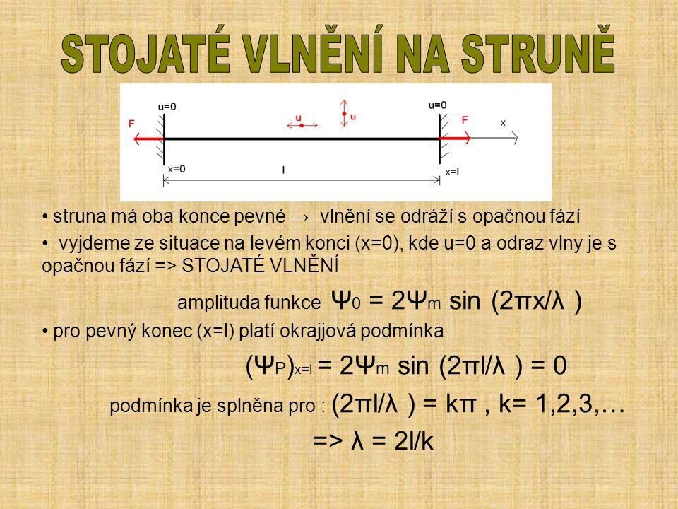 struna má oba konce pevné → vlnění se odráží s opačnou fází vyjdeme ze situace na levém konci (x=0), kde u=0 a odraz vlny je s opačnou fází => STOJATÉ
