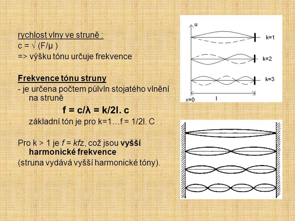 rychlost vlny ve struně : c = √ (F/μ ) => výšku tónu určuje frekvence Frekvence tónu struny - je určena počtem půlvln stojatého vlnění na struně f = c