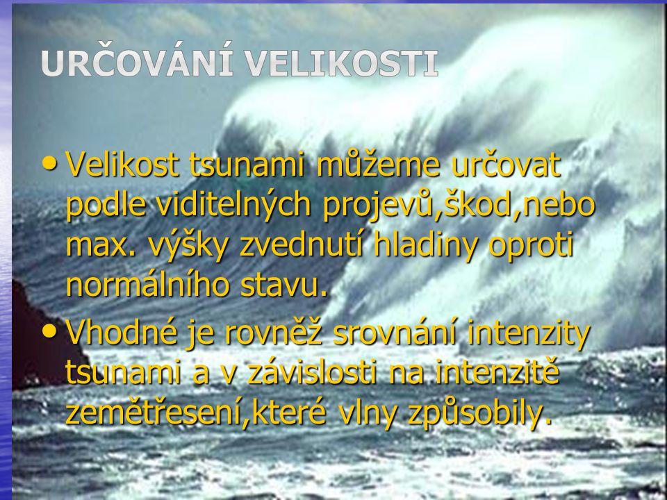 Velikost tsunami můžeme určovat podle viditelných projevů,škod,nebo max. výšky zvednutí hladiny oproti normálního stavu. Velikost tsunami můžeme určov