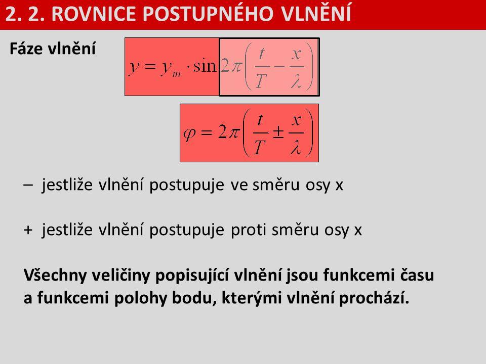 Fáze vlnění – jestliže vlnění postupuje ve směru osy x + jestliže vlnění postupuje proti směru osy x Všechny veličiny popisující vlnění jsou funkcemi