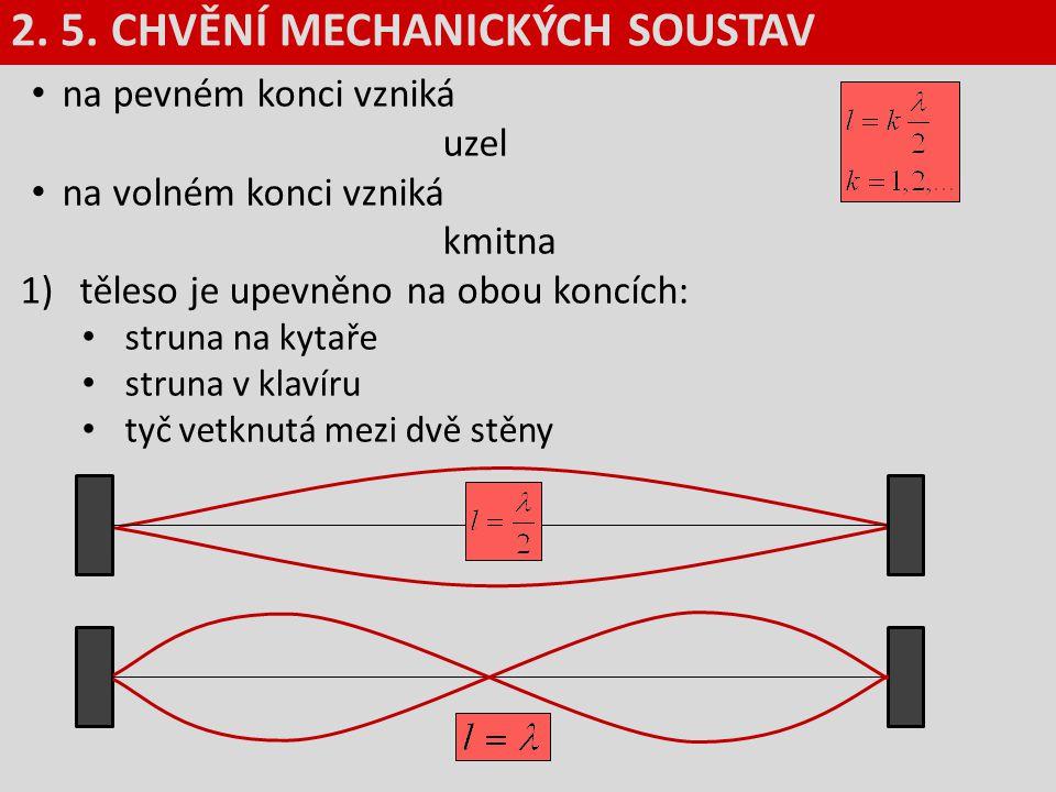na pevném konci vzniká uzel na volném konci vzniká kmitna 1)těleso je upevněno na obou koncích: struna na kytaře struna v klavíru tyč vetknutá mezi dv