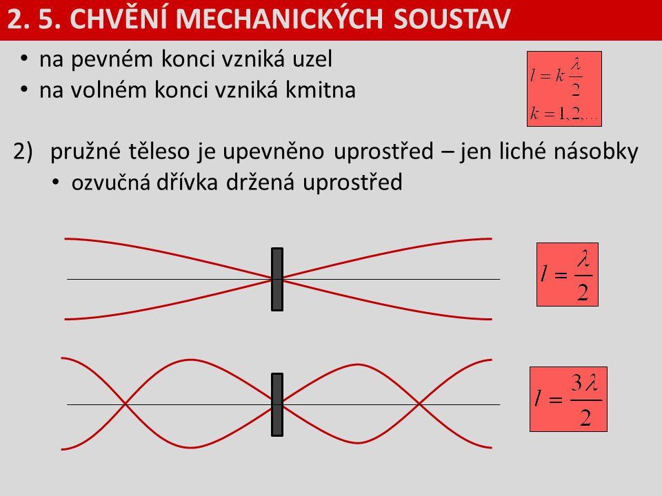 na pevném konci vzniká uzel na volném konci vzniká kmitna 2)pružné těleso je upevněno uprostřed – jen liché násobky ozvučná dřívka držená uprostřed 2.