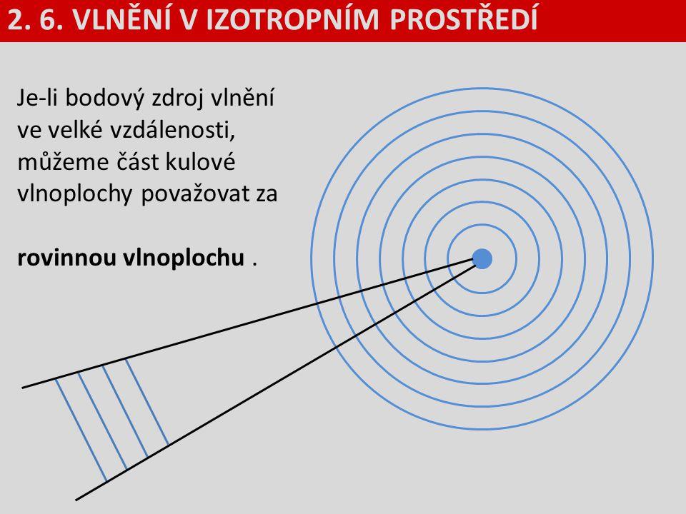 Je-li bodový zdroj vlnění ve velké vzdálenosti, můžeme část kulové vlnoplochy považovat za rovinnou vlnoplochu. 2. 6. VLNĚNÍ V IZOTROPNÍM PROSTŘEDÍ