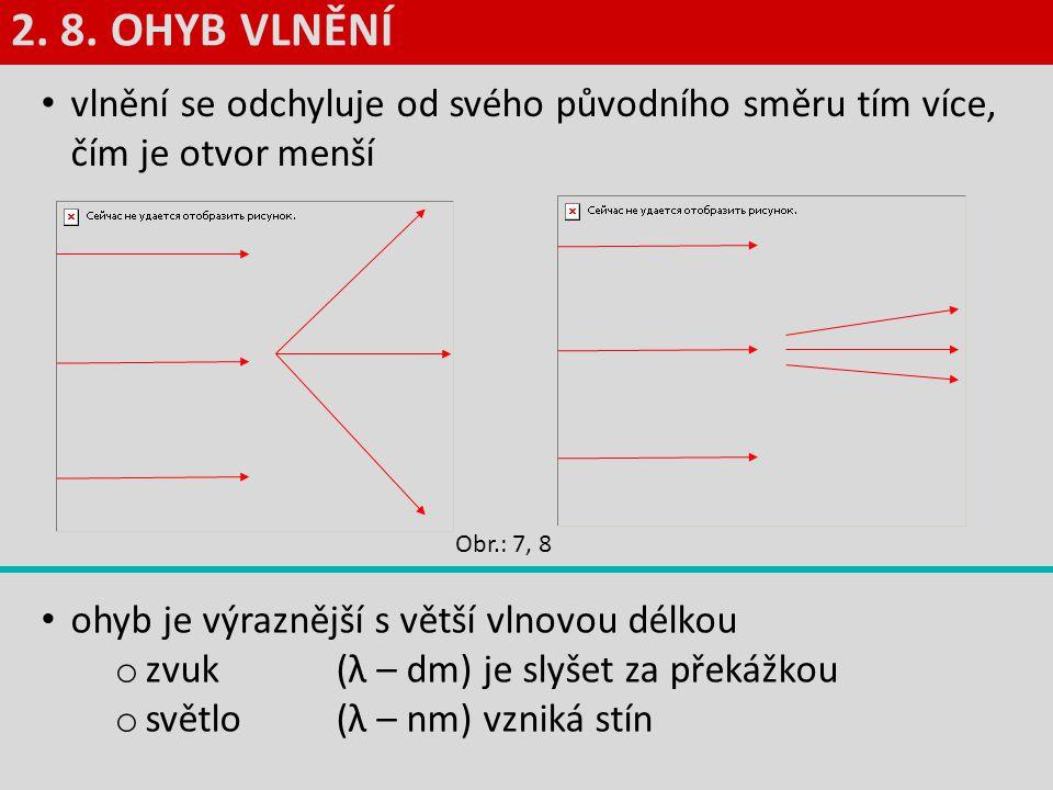 vlnění se odchyluje od svého původního směru tím více, čím je otvor menší ohyb je výraznější s větší vlnovou délkou o zvuk (λ – dm) je slyšet za překá