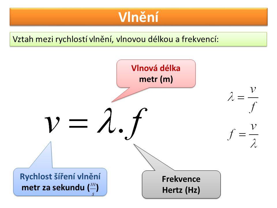 Vlnění Vztah mezi rychlostí vlnění, vlnovou délkou a frekvencí: Vlnová délka metr (m) Vlnová délka metr (m) Rychlost šíření vlnění metr za sekundu ( )