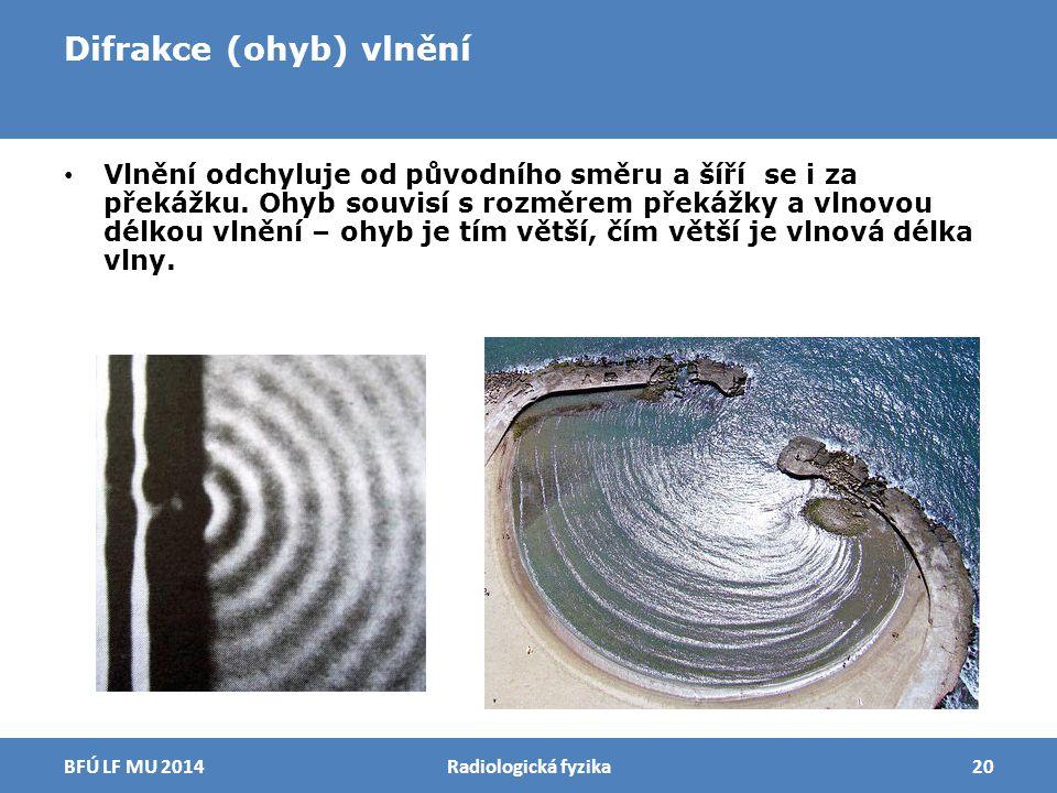 Difrakce (ohyb) vlnění Vlnění odchyluje od původního směru a šíří se i za překážku. Ohyb souvisí s rozměrem překážky a vlnovou délkou vlnění – ohyb je