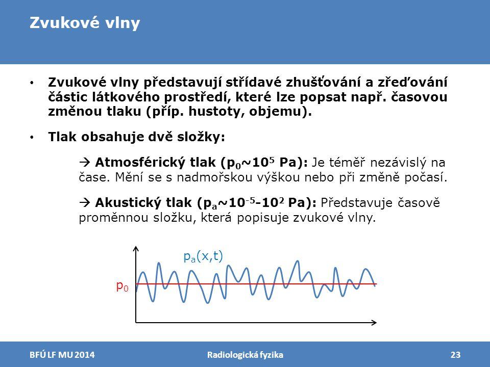 Zvukové vlny Zvukové vlny představují střídavé zhušťování a zřeďování částic látkového prostředí, které lze popsat např. časovou změnou tlaku (příp. h
