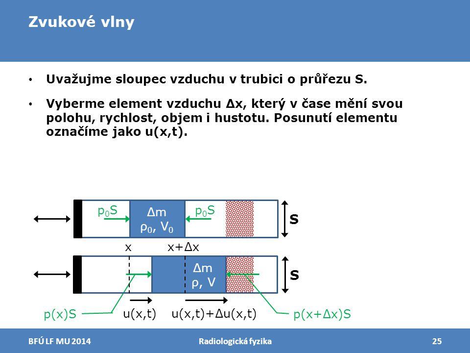 Zvukové vlny Uvažujme sloupec vzduchu v trubici o průřezu S. Vyberme element vzduchu ∆x, který v čase mění svou polohu, rychlost, objem i hustotu. Pos