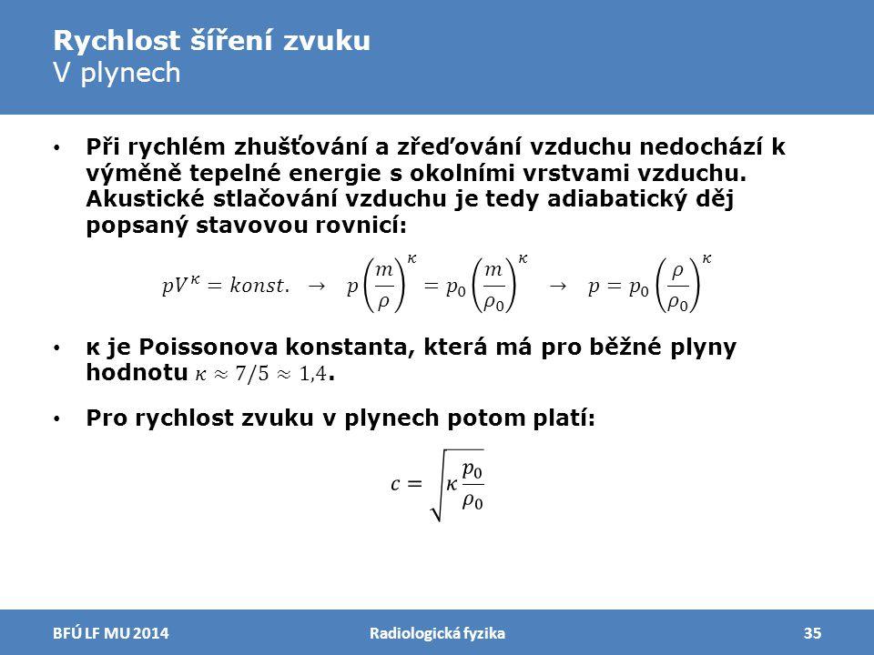 Rychlost šíření zvuku V plynech Radiologická fyzika35BFÚ LF MU 2014