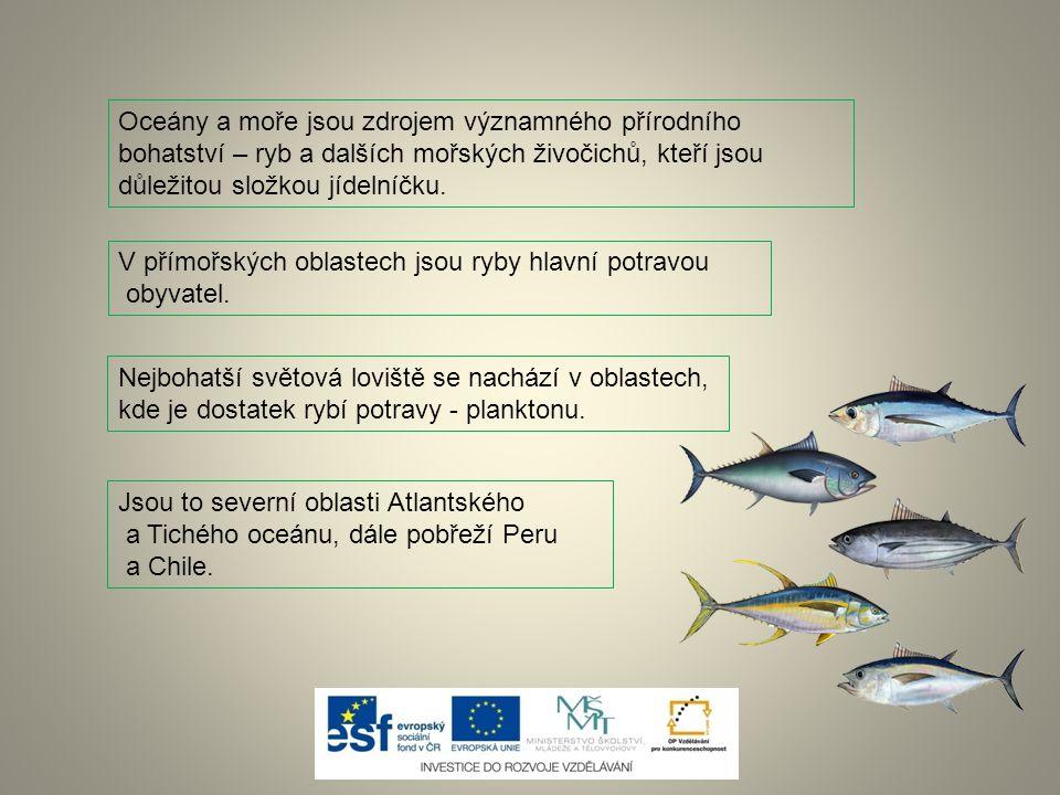 Oceány a moře jsou zdrojem významného přírodního bohatství – ryb a dalších mořských živočichů, kteří jsou důležitou složkou jídelníčku. V přímořských