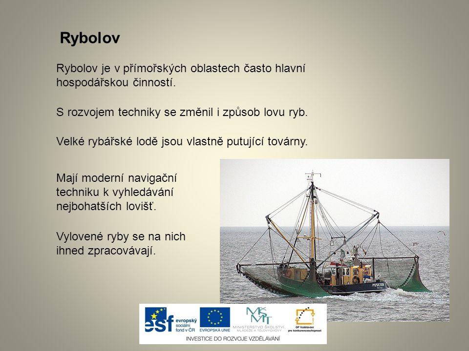 Rybolov je v přímořských oblastech často hlavní hospodářskou činností. S rozvojem techniky se změnil i způsob lovu ryb. Velké rybářské lodě jsou vlast
