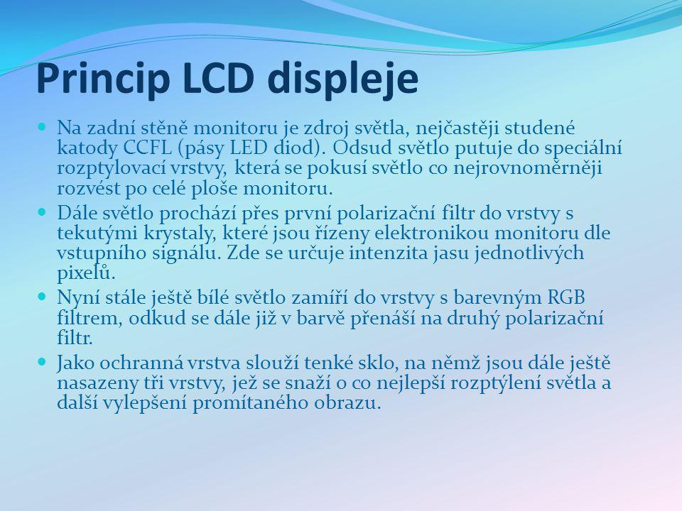 Princip LCD displeje Na zadní stěně monitoru je zdroj světla, nejčastěji studené katody CCFL (pásy LED diod). Odsud světlo putuje do speciální rozptyl