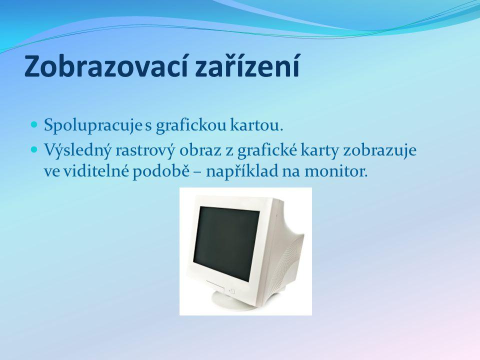 Zobrazovací zařízení Spolupracuje s grafickou kartou. Výsledný rastrový obraz z grafické karty zobrazuje ve viditelné podobě – například na monitor.