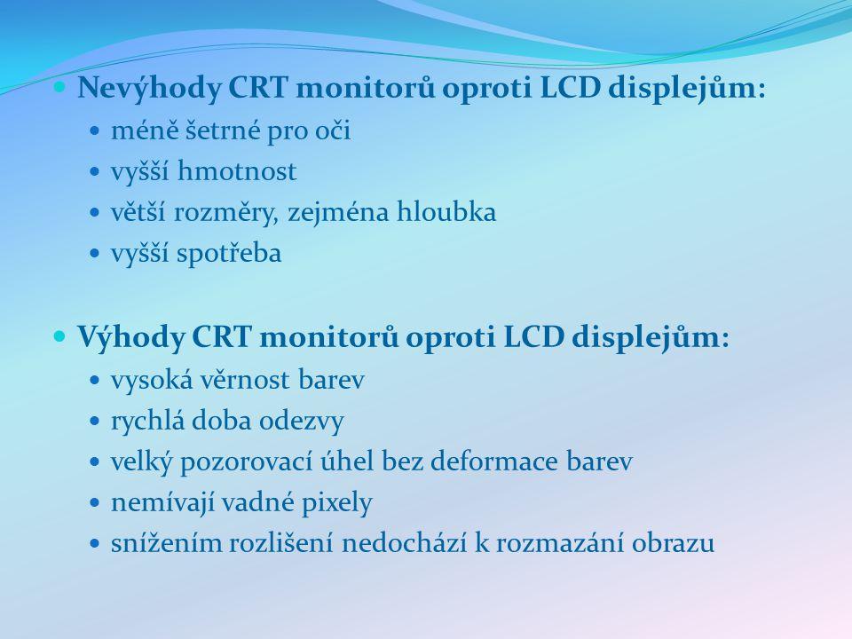 Nevýhody CRT monitorů oproti LCD displejům: méně šetrné pro oči vyšší hmotnost větší rozměry, zejména hloubka vyšší spotřeba Výhody CRT monitorů oproti LCD displejům: vysoká věrnost barev rychlá doba odezvy velký pozorovací úhel bez deformace barev nemívají vadné pixely snížením rozlišení nedochází k rozmazání obrazu
