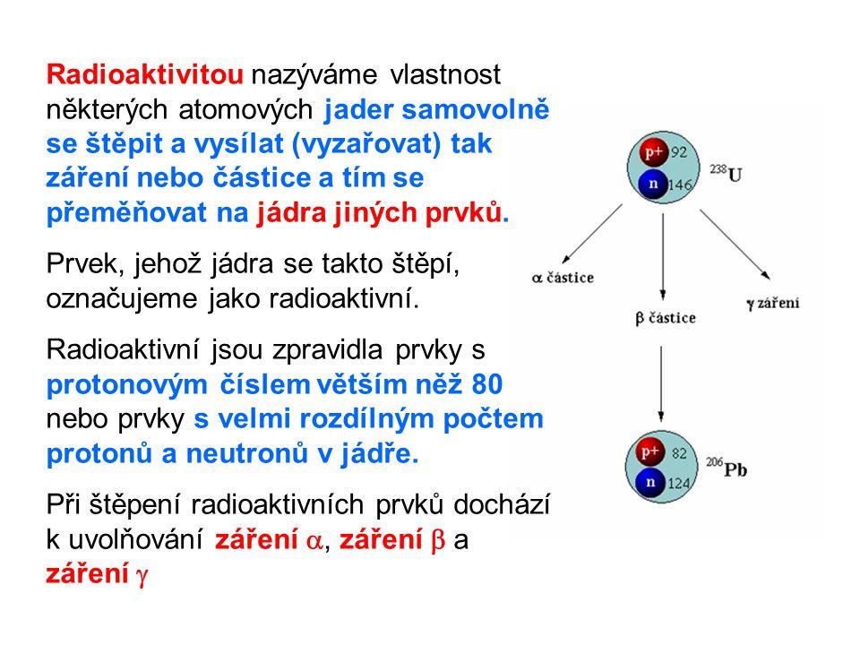 Radioaktivitou nazýváme vlastnost některých atomových jader samovolně se štěpit a vysílat (vyzařovat) tak záření nebo částice a tím se přeměňovat na jádra jiných prvků.