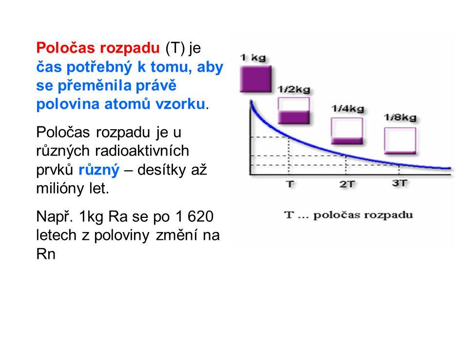 Poločas rozpadu (T) je čas potřebný k tomu, aby se přeměnila právě polovina atomů vzorku.
