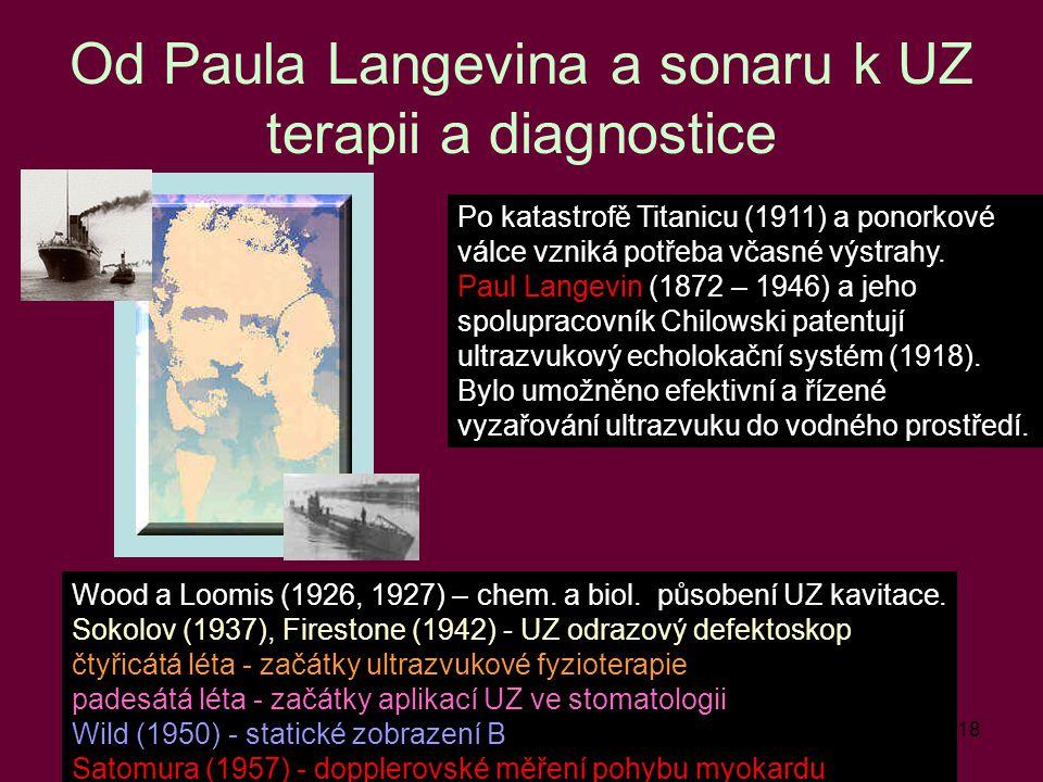 18 Od Paula Langevina a sonaru k UZ terapii a diagnostice Po katastrofě Titanicu (1911) a ponorkové válce vzniká potřeba včasné výstrahy. Paul Langevi