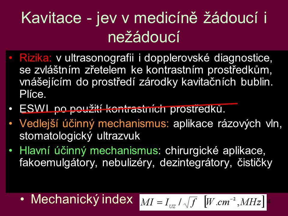 34 Kavitace - jev v medicíně žádoucí i nežádoucí Rizika: v ultrasonografii i dopplerovské diagnostice, se zvláštním zřetelem ke kontrastním prostředků
