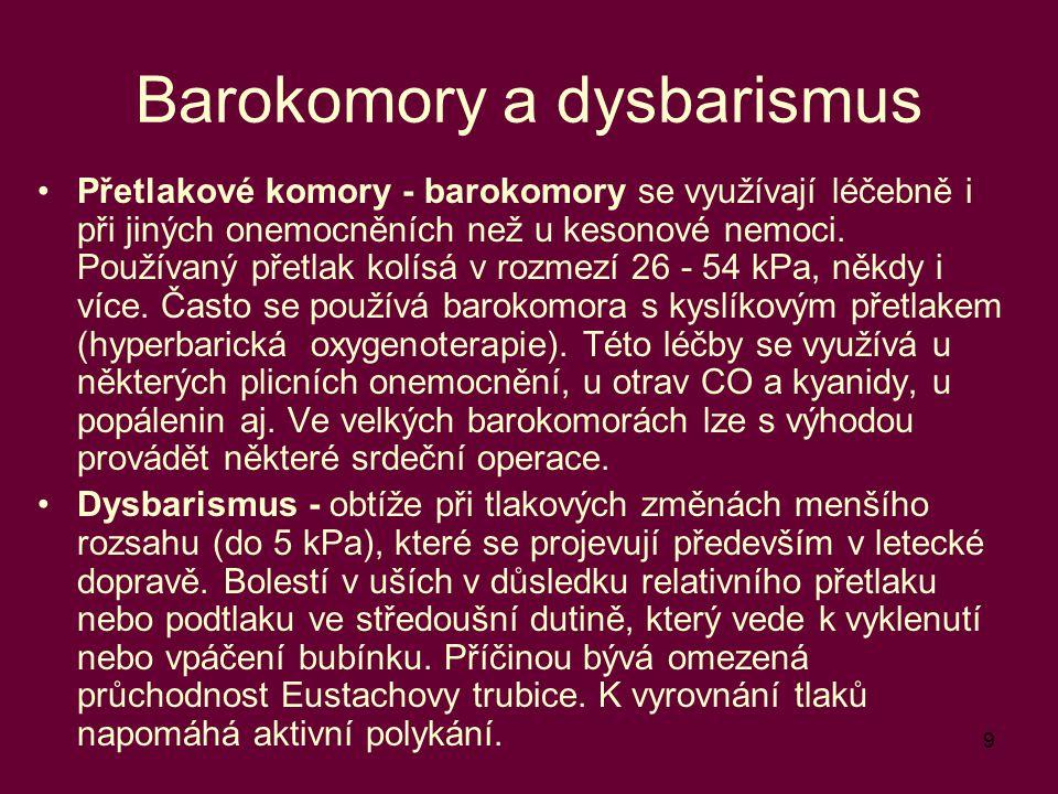 9 Barokomory a dysbarismus Přetlakové komory - barokomory se využívají léčebně i při jiných onemocněních než u kesonové nemoci. Používaný přetlak kolí