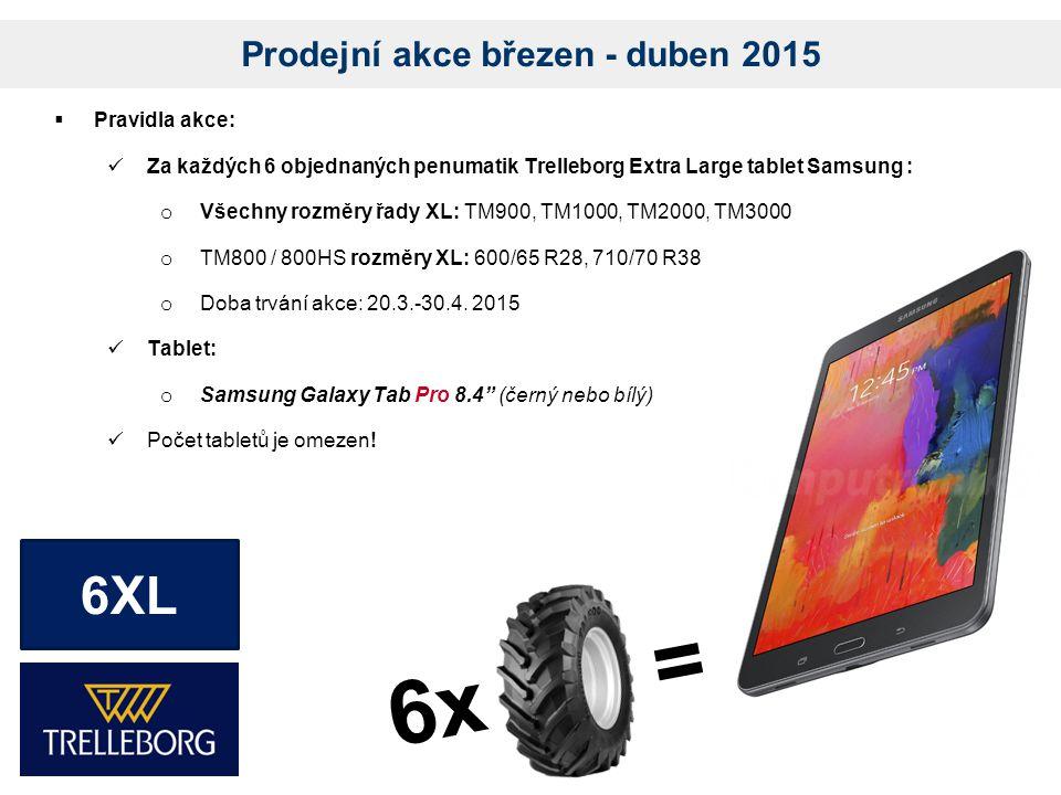 Prodejní akce březen - duben 2015  Pravidla akce: Za každých 6 objednaných penumatik Trelleborg Extra Large tablet Samsung : o Všechny rozměry řady XL: TM900, TM1000, TM2000, TM3000 o TM800 / 800HS rozměry XL: 600/65 R28, 710/70 R38 o Doba trvání akce: 20.3.-30.4.
