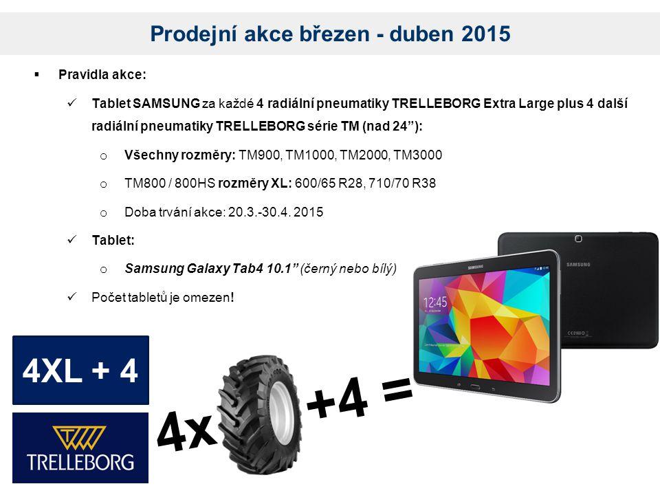 Prodejní akce březen - duben 2015  Pravidla akce: Tablet SAMSUNG za každé 4 radiální pneumatiky TRELLEBORG Extra Large plus 4 další radiální pneumatiky TRELLEBORG série TM (nad 24 ): o Všechny rozměry: TM900, TM1000, TM2000, TM3000 o TM800 / 800HS rozměry XL: 600/65 R28, 710/70 R38 o Doba trvání akce: 20.3.-30.4.