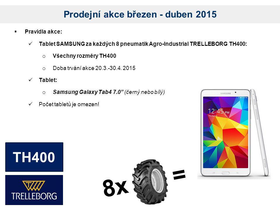 Prodejní akce březen - duben 2015  Pravidla akce: Tablet SAMSUNG za každých 8 pneumatik Agro-Industrial TRELLEBORG TH400: o Všechny rozměry TH400 o Doba trvání akce 20.3.-30.4.