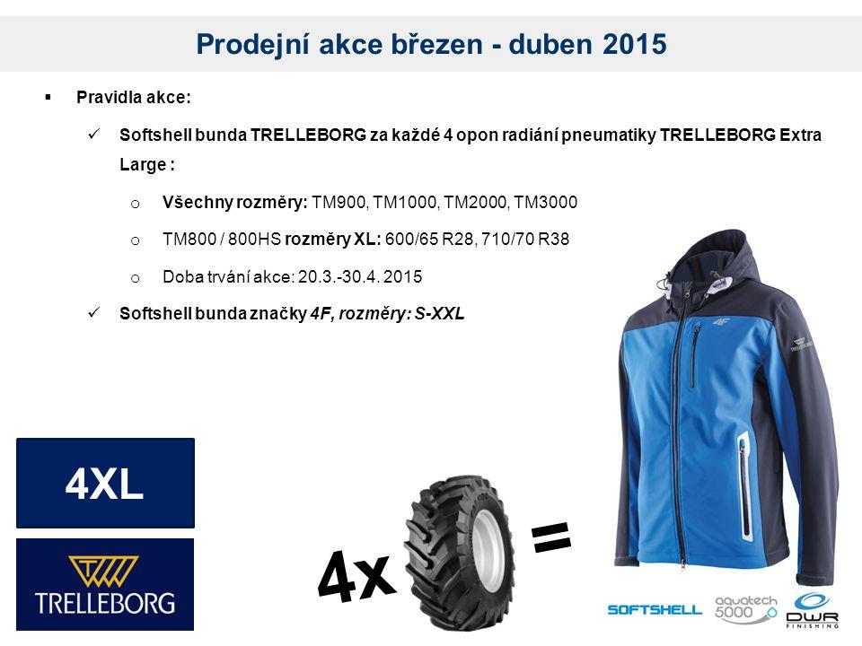 Prodejní akce březen - duben 2015  Pravidla akce: Softshell bunda TRELLEBORG za každé 4 opon radiání pneumatiky TRELLEBORG Extra Large : o Všechny rozměry: TM900, TM1000, TM2000, TM3000 o TM800 / 800HS rozměry XL: 600/65 R28, 710/70 R38 o Doba trvání akce: 20.3.-30.4.
