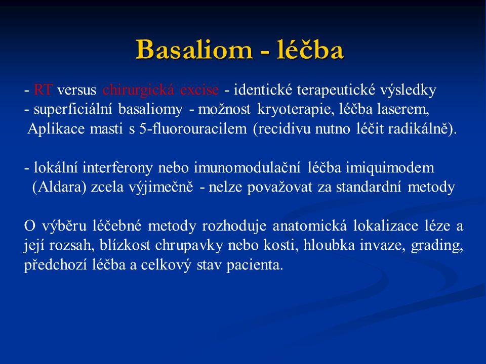 - RT versus chirurgická excise - identické terapeutické výsledky - superficiální basaliomy - možnost kryoterapie, léčba laserem, Aplikace masti s 5-fl