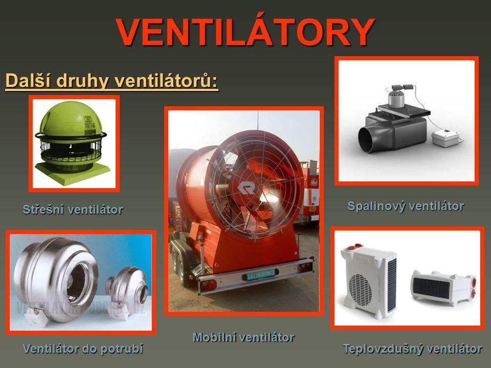 VENTILÁTORY Další druhy ventilátorů: Střešní ventilátor Spalinový ventilátor Teplovzdušný ventilátor Mobilní ventilátor Ventilátor do potrubí