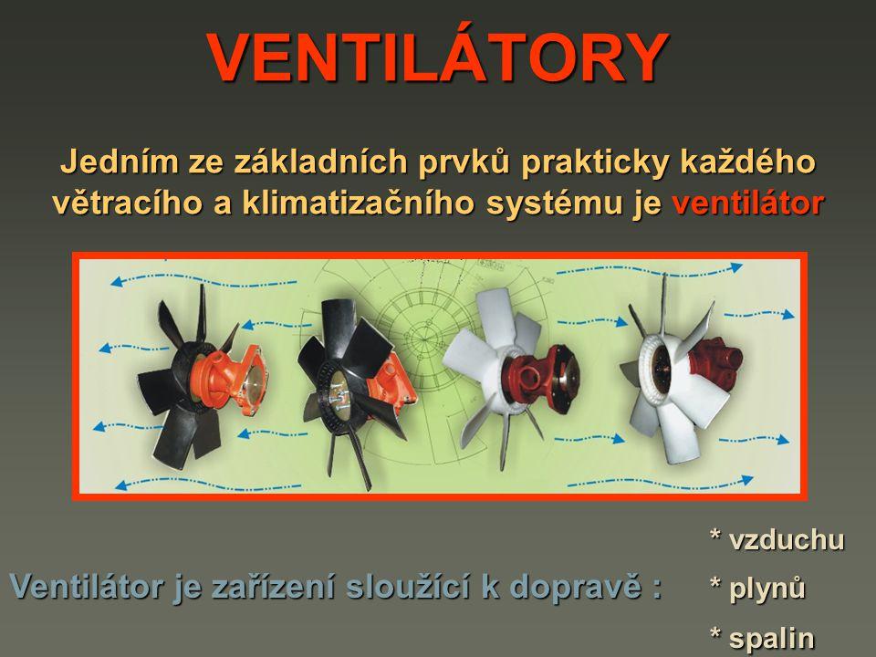 VENTILÁTORY Jedním ze základních prvků prakticky každého větracího a klimatizačního systému je ventilátor * vzduchu Ventilátor je zařízení sloužící k dopravě : * plynů * spalin
