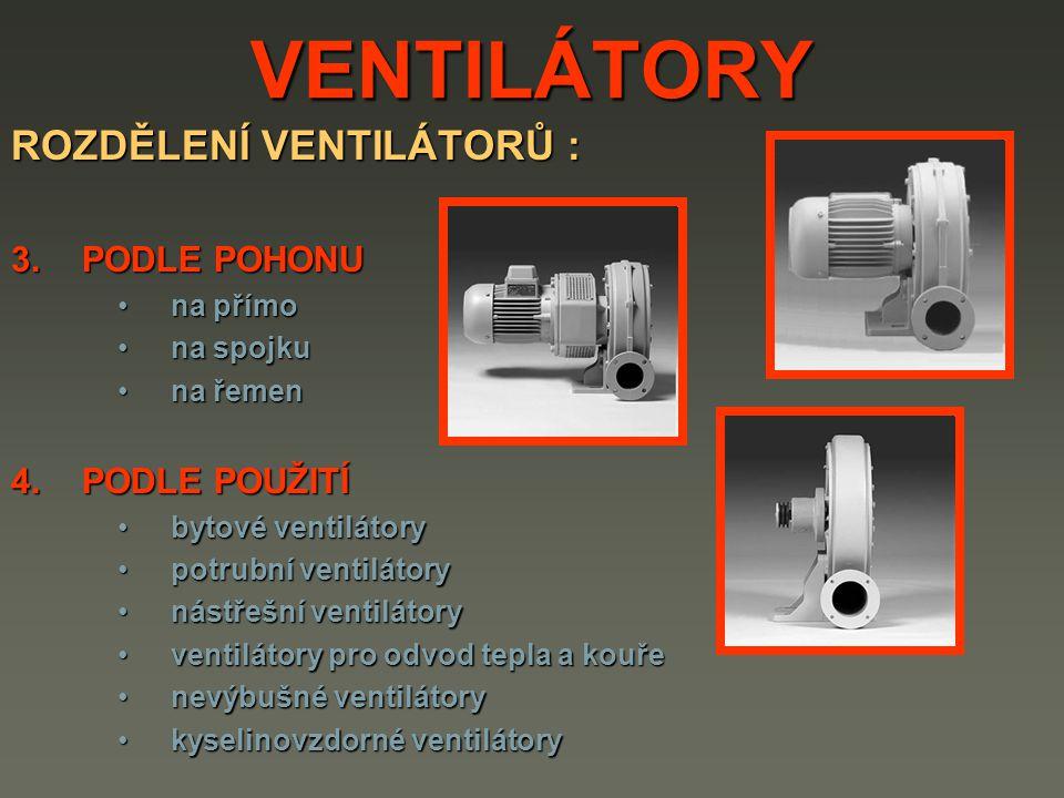 VENTILÁTORY ROZDĚLENÍ VENTILÁTORŮ : 3.PODLE POHONU na přímona přímo na spojkuna spojku na řemenna řemen 4.PODLE POUŽITÍ bytové ventilátorybytové ventilátory potrubní ventilátorypotrubní ventilátory nástřešní ventilátorynástřešní ventilátory ventilátory pro odvod tepla a kouřeventilátory pro odvod tepla a kouře nevýbušné ventilátorynevýbušné ventilátory kyselinovzdorné ventilátorykyselinovzdorné ventilátory