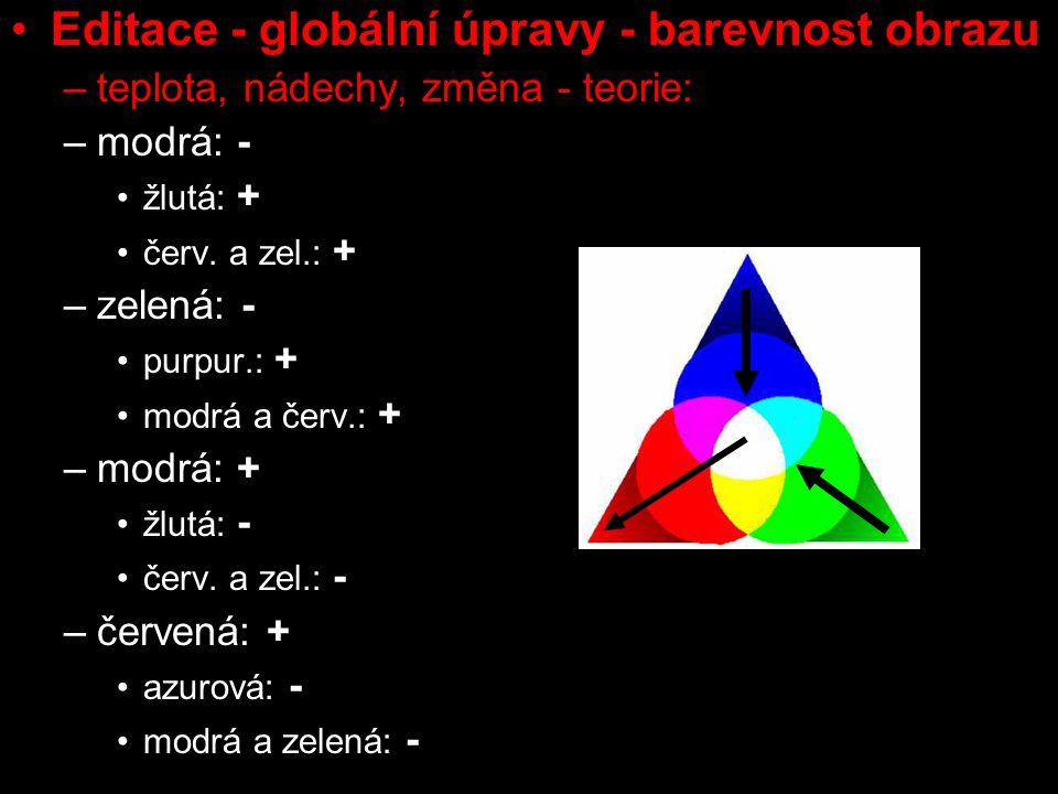 Editace - globální úpravy - barevnost obrazu –teplota, nádechy, změna - teorie: –modrá: - žlutá: + červ.