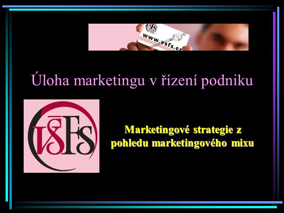 Úloha marketingu v řízení podniku Marketingové strategie z pohledu marketingového mixu