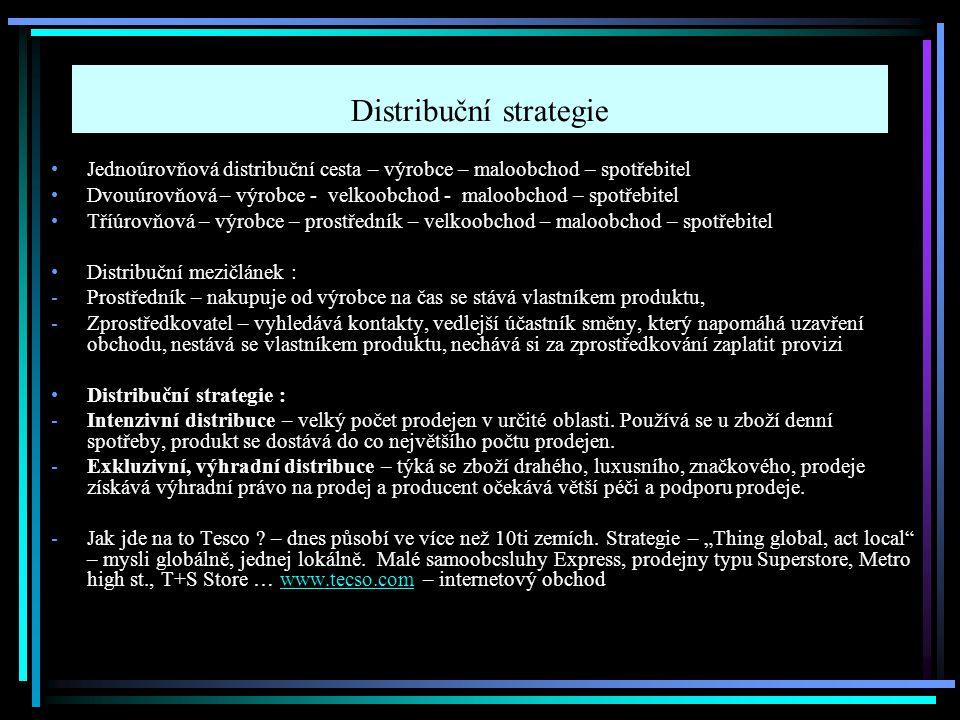 Distribuční strategie Jednoúrovňová distribuční cesta – výrobce – maloobchod – spotřebitel Dvouúrovňová – výrobce - velkoobchod - maloobchod – spotřeb