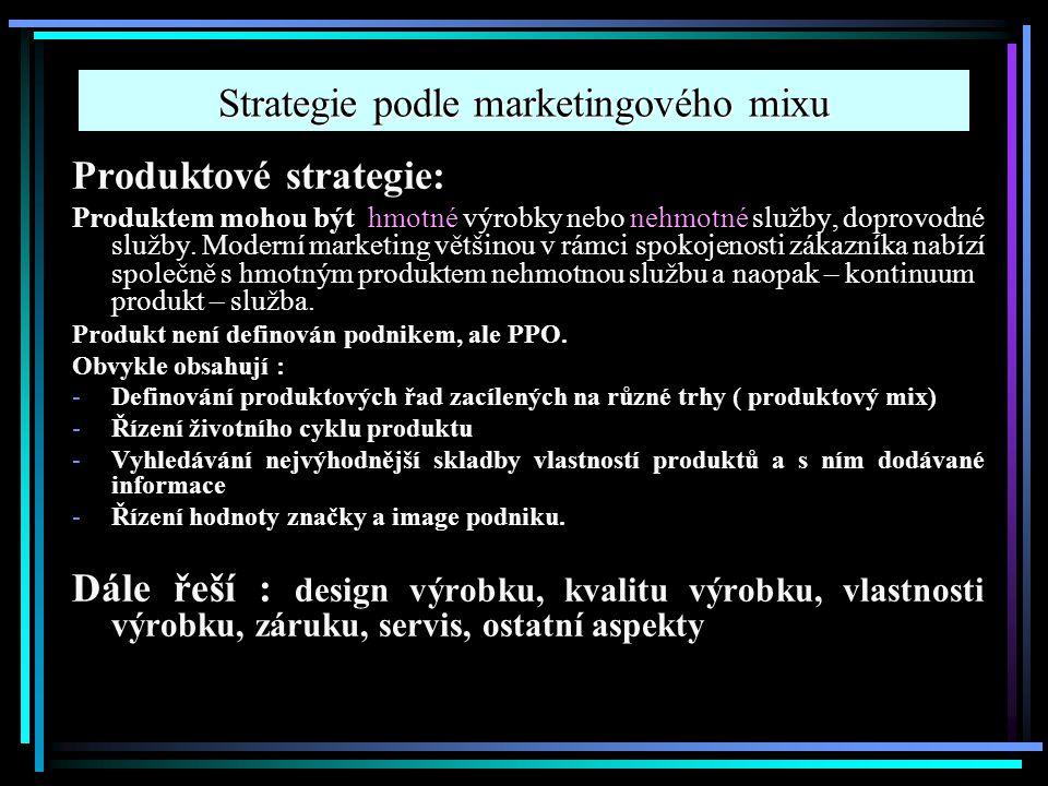 Strategie podle marketingového mixu Produktové strategie: Produktem mohou být hmotné výrobky nebo nehmotné služby, doprovodné služby. Moderní marketin