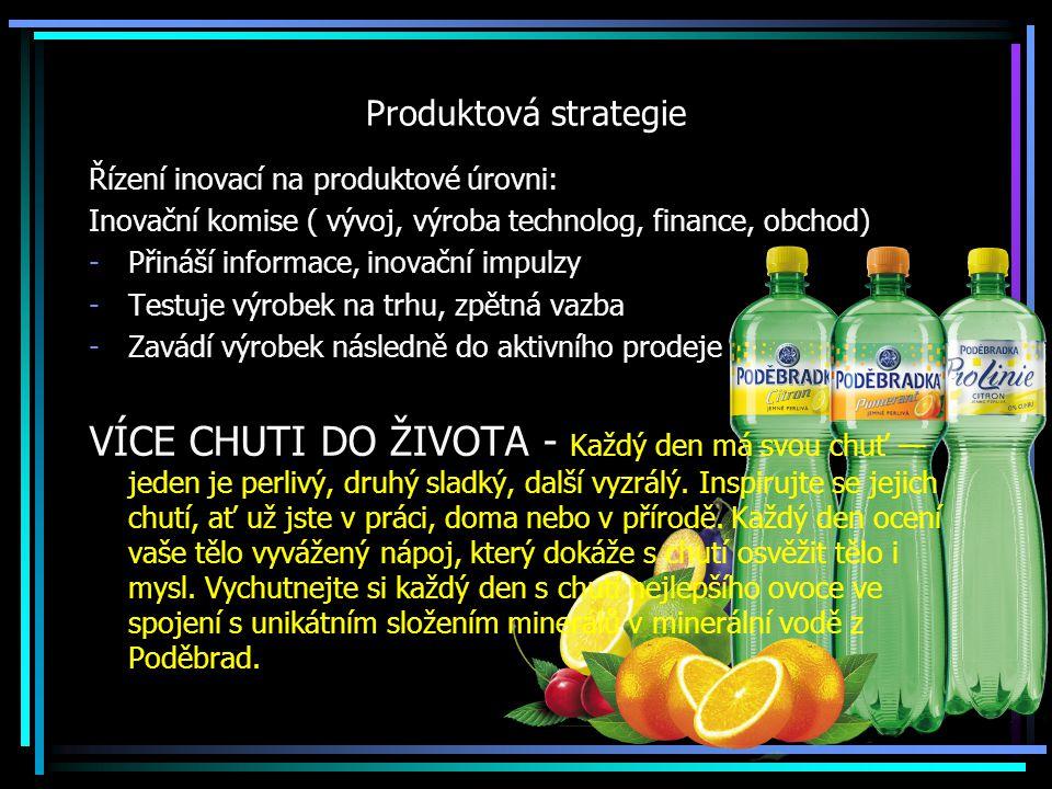 Produktová strategie Řízení inovací na produktové úrovni: Inovační komise ( vývoj, výroba technolog, finance, obchod) -Přináší informace, inovační imp