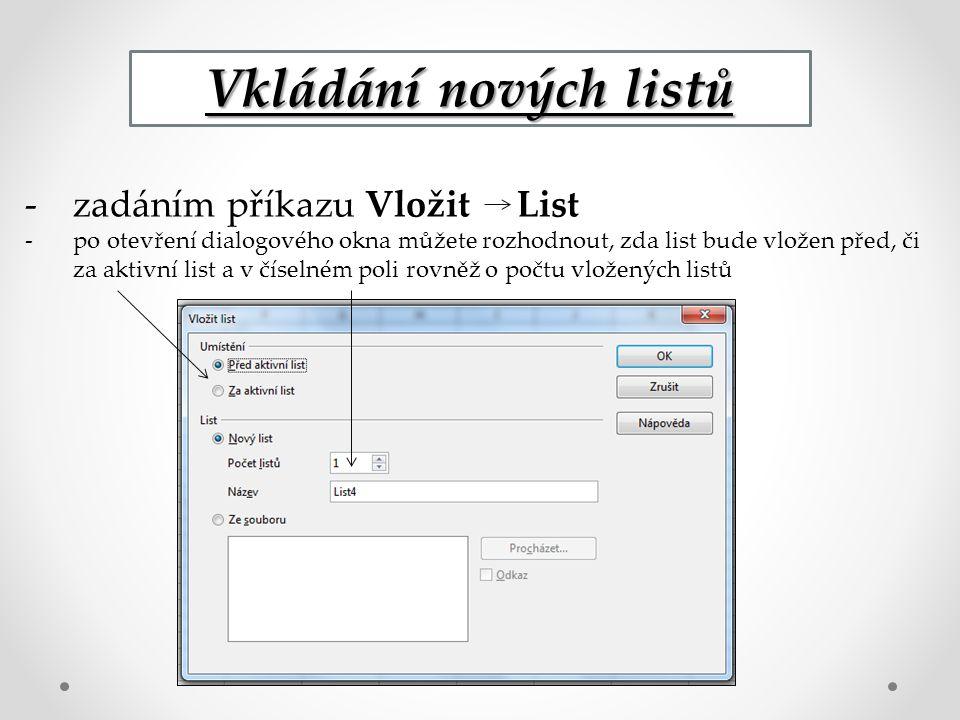 Vkládání nových listů -zadáním příkazu Vložit List -po otevření dialogového okna můžete rozhodnout, zda list bude vložen před, či za aktivní list a v číselném poli rovněž o počtu vložených listů