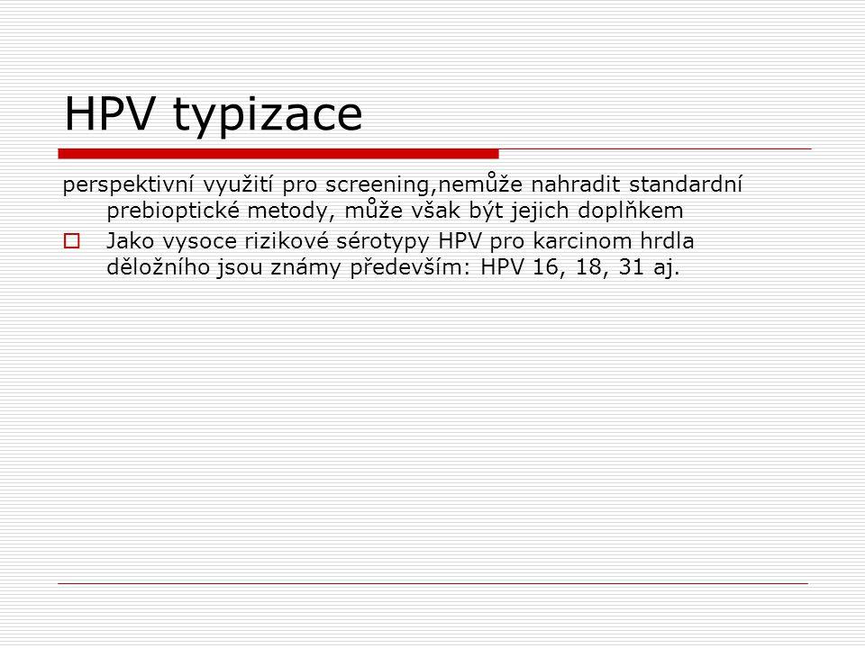 HPV typizace perspektivní využití pro screening,nemůže nahradit standardní prebioptické metody, může však být jejich doplňkem  Jako vysoce rizikové s