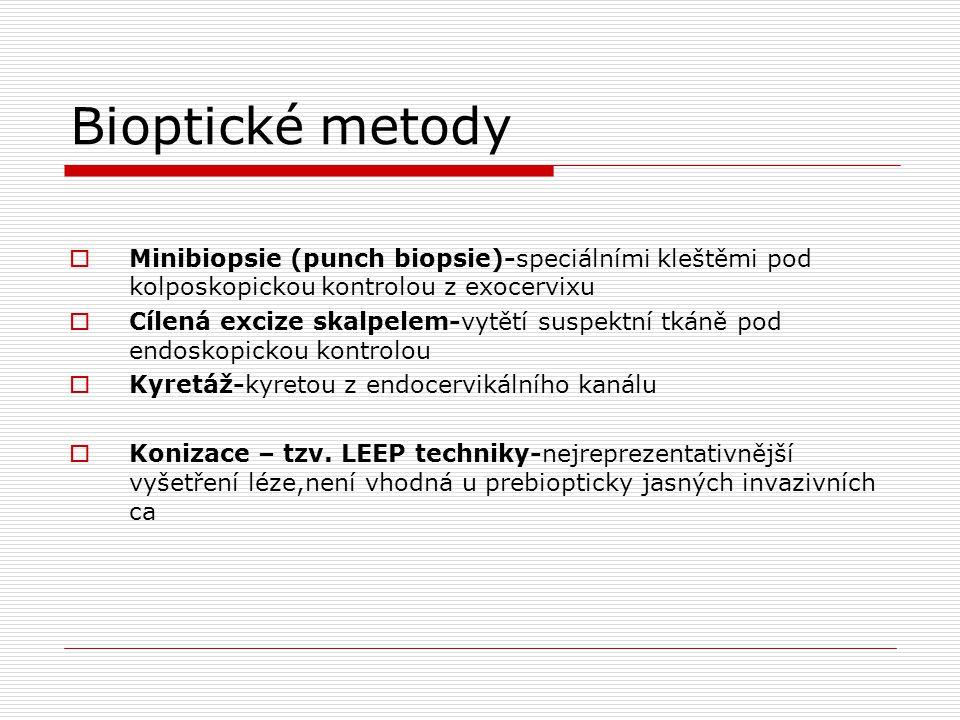 Bioptické metody  Minibiopsie (punch biopsie)-speciálními kleštěmi pod kolposkopickou kontrolou z exocervixu  Cílená excize skalpelem-vytětí suspekt