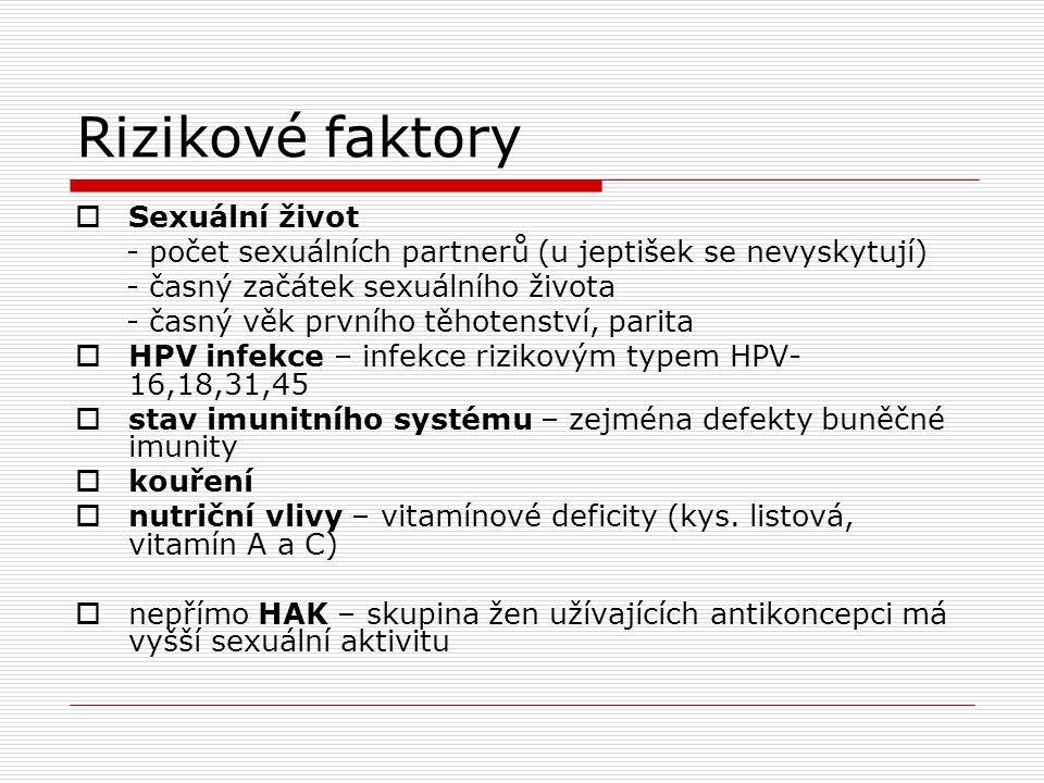 Anatomické poměry  Endocervix-cylindrický epitel  Ektocervix-dlaždicobuněčný epitel  Skvamokolumnární junkce-tvoří hranici mezi oběma typy epitelů  Jestliže se cylindrický epitel ocitne na ektocervixu,dochází v kyselém prostředí ke vzniku dlaždicobun.metaplasie a vzniká nová skvamokolumnární junkce Tato oblast metaplasie je citlivá na infekci HPV, které mohou způsobit její maligní transformaci