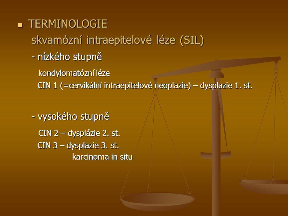 TERMINOLOGIE TERMINOLOGIE skvamózní intraepitelové léze (SIL) skvamózní intraepitelové léze (SIL) - nízkého stupně - nízkého stupně kondylomatózní léze kondylomatózní léze CIN 1 (=cervikální intraepitelové neoplazie) – dysplazie 1.