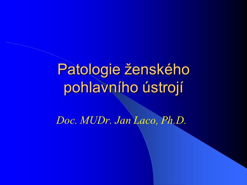 Epiteliální nádory nejčastější - 70% ovariálních nádorů 90% maligních ovariálních nádorů střední a vyšší dospělý věk původ z povrchového mezotelu ovária ??.