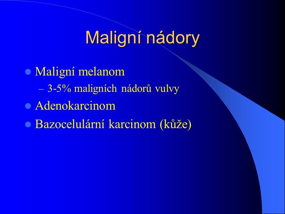 Maligní nádory Maligní melanom – 3-5% maligních nádorů vulvy Adenokarcinom Bazocelulární karcinom (kůže)