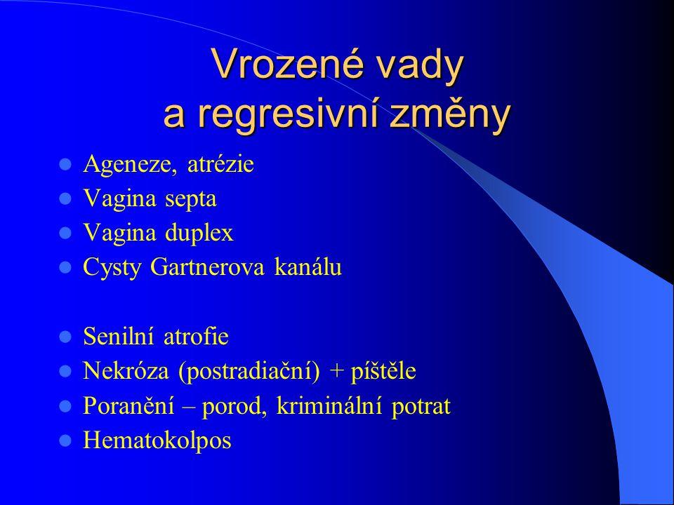 Vrozené vady a regresivní změny Ageneze, atrézie Vagina septa Vagina duplex Cysty Gartnerova kanálu Senilní atrofie Nekróza (postradiační) + píštěle P